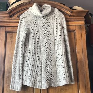 Anthropologie Large cable knit sweater A line